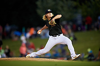 Kane County Cougars relief pitcher Breckin Williams (44) delivers a pitch during a game against the South Bend Cubs on July 21, 2018 at Northwestern Medicine Field in Geneva, Illinois.  South Bend defeated Kane County 4-2.  (Mike Janes/Four Seam Images)