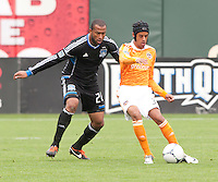 San Francisco, California - Saturday March 17, 2012: Calen Carr and Victor Bernardez in action Houston Dynamo defeated San Jose Earthquakes  1-0