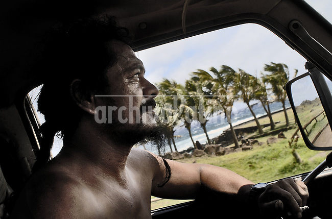 """Oct, 2007, Easter Island, Chile..German Icka Pakarati,  best known as """"Cacho"""" (47) . Fischerman, sculptor, singer and musician. He was born on Easter Island in 1960. After 5 days as a tourist, photographer Lorenzo Moscia set to discover the real life of one of the more surprising places of the World, mix of cultures between Oceania and Latin America, with a native population near extintion./"""