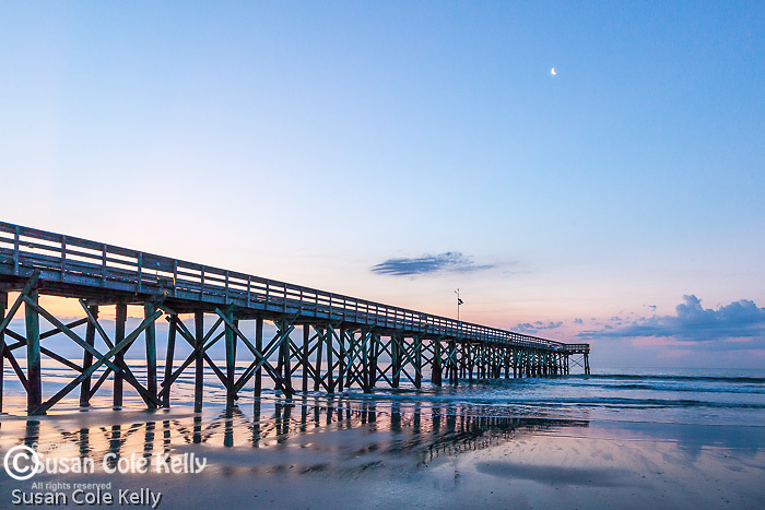 Fishing pier at sunrise at Isle of Palms, South Carolina, USA