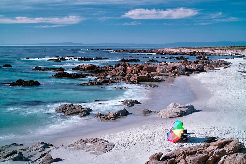 Beach umbrella and beach. 17 Mile Drive, Pebble Beach, California 17 Mile Drive, Pebble Beach, California