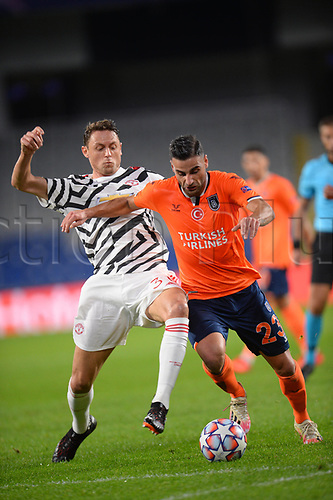 4th November 2020, Basaksehir Fatih Stadium, Istanbul, Turkey; UEFA Champions League football,  Basaksehir versus manchester United;  Deniz Turuc of Basaksehir and Nemanja Matic of Manchester United
