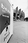 World Cup 1998, France 98<br /> Sign outside Parc des Princes, Paris says 'beau un monde qui joue' 'It's a beautiful world that plays'. (Exact date tbc). Photo by Tony Davis