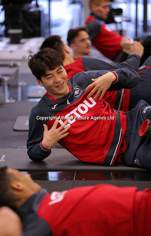 Ki Sung-Yueng exercises in the gym during the Swansea City Training at The Fairwood Training Ground, Swansea, Wales, UK. Wednesday 22 November 2017
