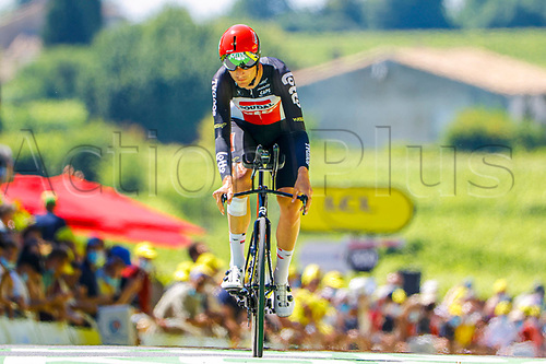 17th July 2021, St Emilian, Bordeaux, France;  VAN MOER Brent (BEL) of LOTTO SOUDAL during stage 20 of the 108th edition of the 2021 Tour de France cycling race, an individual time trial stage of 30,8 kms between Libourne and Saint-Emilion.