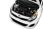 Car Stock 2017 KIA Rio LX 5 Door Hatchback Engine  high angle detail view