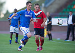 St Johnstone v FC Minsk...01.08.13 Europa League Qualifier at Neman Stadium, Grodno, Belarus...<br /> Gary McDonald and Mikita Bukatkin<br /> Picture by Graeme Hart.<br /> Copyright Perthshire Picture Agency<br /> Tel: 01738 623350  Mobile: 07990 594431