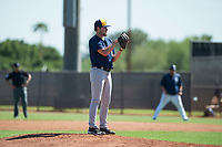 Milwaukee Brewers relief pitcher Wade Beasley (16) looks in for the sign during an Instructional League game against the San Diego Padres at Peoria Sports Complex on September 21, 2018 in Peoria, Arizona. (Zachary Lucy/Four Seam Images)