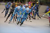 SCHAATSEN: ENSCHEDE:01-01-2020, IJsbaan Twente, NK Marathonschaatsen, winnaar Gerry Hekman, Sjoerd den Hertog(2) en Arjan Stroetinga (3), Jorrit Bergsma op kop, ©foto Martin de Jong