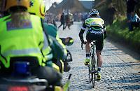 Dwars door Vlaanderen 2012.Aidis Kruopis trying to get back in the pack