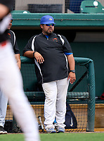 Cypress Bay Lightning coach Bo Diaz during the 42nd Annual FACA All-Star Baseball Classic on June 6, 2021 at Joker Marchant Stadium in Lakeland, Florida.  (Mike Janes/Four Seam Images)