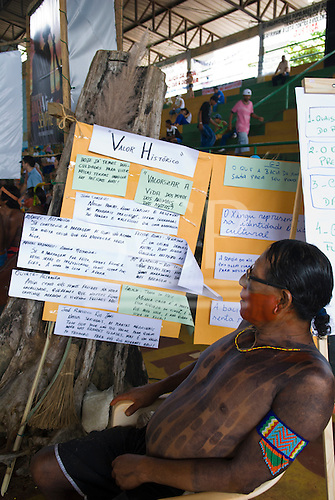 """Altamira, Brazil. """"Xingu Vivo Para Sempre"""" protest meeting about the proposed Belo Monte hydroeletric dam and other dams on the Xingu river and its tributaries. Messages from some of the Indian groups."""