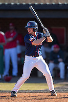 Ryan Hill (16) of the Shippensburg Raiders at bat against the Belmont Abbey Crusaders at Abbey Yard on February 8, 2015 in Belmont, North Carolina.  The Raiders defeated the Crusaders 14-0.  (Brian Westerholt/Four Seam Images)