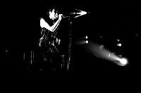 French singer Alain Bashung in concert at the Spectrum on April 9, 1987.<br /> <br /> Fle Photo : Agence Quebec Presse  - Denis Alix