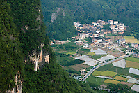 Village and scenery seen from the top of Moon Hill, Guangxi, China.