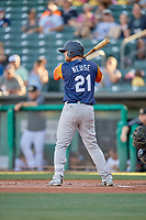 Sheldon Neuse (21) of the Las Vegas Aviators at bat against the Salt Lake Bees at Smith's Ballpark on July 20, 2019 in Salt Lake City, Utah. The Aviators defeated the Bees 8-5. (Stephen Smith/Four Seam Images)