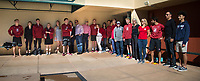 STANFORD, CA - February 17, 2018: Seniors at Avery Aquatic Center. The Stanford Cardinal defeated the California Golden Bears 151-149 on Senior Day.