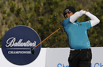 JEJU, SOUTH KOREA - APRIL 23:  Thongchai Jaidee of Thailand tees off on the 6th hole during the Round Two of the Ballantine's Championship at Pinx Golf Club on April 23, 2010 in Jeju island, South Korea. Photo by Victor Fraile / The Power of Sport Images