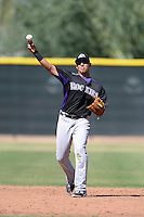 Colorado Rockies infielder Cristhian Adames (26) during an instructional league game against the Los Angels Angels of Anaheim on September 30, 2013 at Tempe Diablo Stadium Complex in Tempe, Arizona.  (Mike Janes/Four Seam Images)