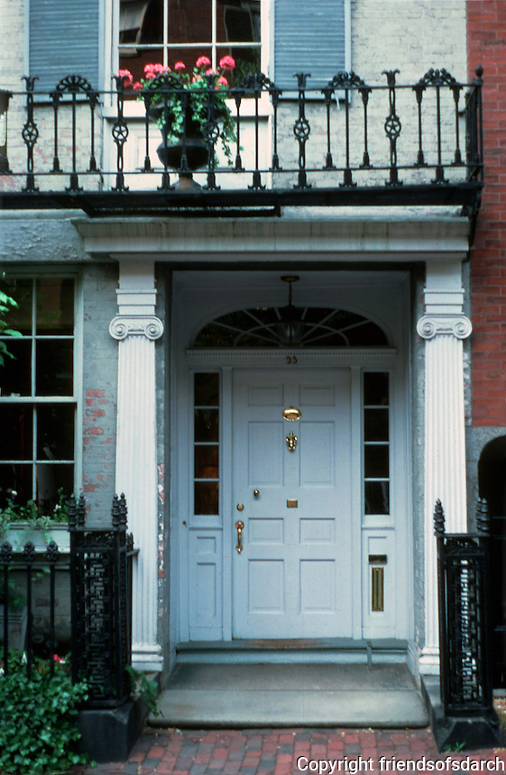 Boston:  No. 23 Chestnut--entrance.  Ionic pilasters in gray.  Photo '88.