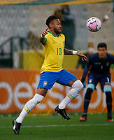 9th October 2020; Arena Corinthians, Sao Paulo, Sao Paulo, Brazil; FIFA World Cup Football Qatar 2022 qualifiers; Brazil versus Bolivia; Neymar of Brazil brings down a high ball