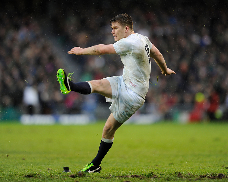 Owen Farrell of England kicked four penalties to score his side's only points during the RBS 6 Nations match between Ireland and England at the Aviva Stadium, Dublin on Sunday 10 February 2013 (Photo by Rob Munro)