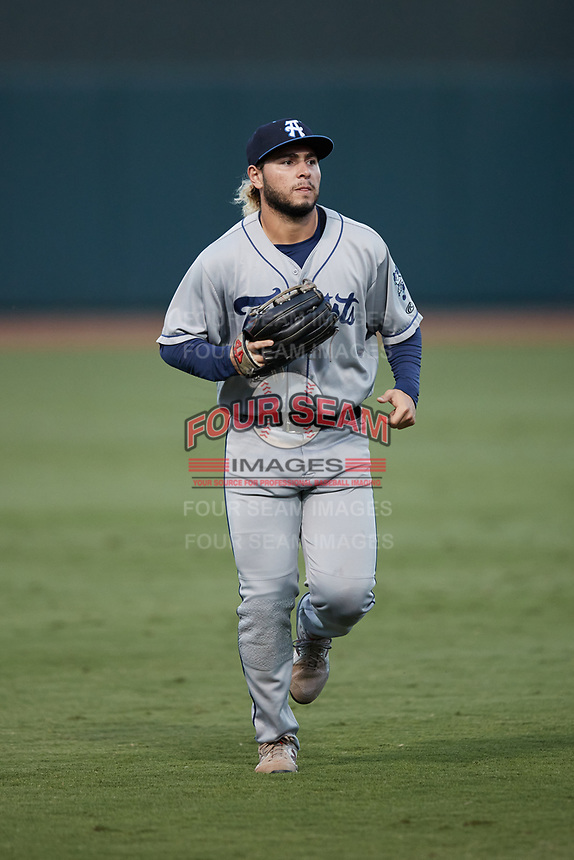 Asheville Tourists center fielder Wilyer Abreu (24) jogs off the field between innings of the game against the Winston-Salem Dash at Truist Stadium on September 17, 2021 in Winston-Salem, North Carolina. (Brian Westerholt/Four Seam Images)