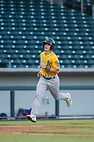 AZL Athletics left fielder Ben Spitznagel (18) scores a run in the first inning during a game against the AZL Cubs on August 9, 2017 at Sloan Park in Mesa, Arizona. AZL Athletics defeated the AZL Cubs 7-2. (Zachary Lucy/Four Seam Images)