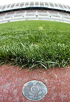 Brass yard markers line the field at Ohio Stadium Thursday, May 20, 2004 in Columbus, Ohio.