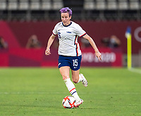 KASHIMA, JAPAN - AUGUST 2: Megan Rapinoe #15 of the USWNT dribbles during a game between Canada and USWNT at Kashima Soccer Stadium on August 2, 2021 in Kashima, Japan.