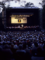 Montreal (Qc) CANADA -  July 1993 File Photo - <br /> Montreal Symphonic Orchestra and its conductor Charles Dutoit perform a free outdoor concert in a parc south of Montreal.<br /> <br /> -Photo (c)  Images Distribution