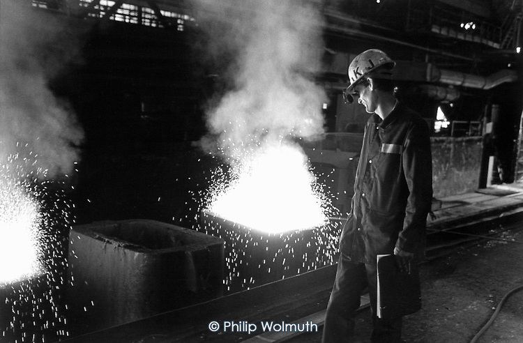 """The T.Sendzimira steel works in Nowa Huta, on the outskirts of Krakow.  Formerly the Lenin Works, it employs 17,000; parts of the massive site have already been sold off.  The rest is being """"commercialised"""" in preparation for complete privatisation."""