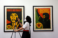 The screen printings titled 'Angela' and 'Jesse' at the Exhibition '3 Decades of Dissent' of the urban artist Shepard Fairey at the modern art gallery of Rome.<br /> Rome (Italy), September 17th 2020<br /> Photo Samantha Zucchi Insidefoto