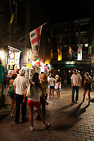 Montreal (Qc) CANADA - Sept 1st  2008 - . people walk beside vendors.Stalls on Saint-Amable street near Place Jacques-Cartier,.OLd-Montreal at night..