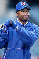 Shannon Stewart of the Toronto Blue Jays before a 2002 MLB season game against the Los Angeles Angels at Angel Stadium, in Anaheim, California. (Larry Goren/Four Seam Images)
