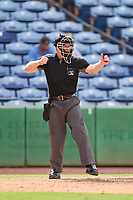 Umpire Austin Nelson strike three call during a game between the St. Lucie Mets and Clearwater Threshers on July 1, 2021 at BayCare Ballpark in Clearwater, Florida.  (Mike Janes/Four Seam Images)