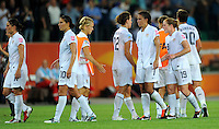 Players of team USA react during the FIFA Women's World Cup at the FIFA Stadium in Wolfsburg, Germany on July 6thd, 2011.