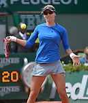 Mirjana Lucic-Baroni (CRO) loses to Alize Cornet (FRA) 4-6, 6-3, 6-5 at  Roland Garros being played at Stade Roland Garros in Paris, France on May 29, 2015