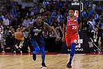 Dorian Finney Smith of Dallas Mavericks (L) in action against Markelle Fultz of 76ers (R) during the NBA China Games 2018 match between Dallas Mavericks and Philadelphia 76ers at Universiade Center on October 08 2018 in Shenzhen, China. Photo by Marcio Rodrigo Machado / Power Sport Images