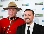 BANFF, AB, CANADA - JUNE 15:  Actor Ricky Gervais, right, on the red carpet before the 2010 Banff World Television awards on June 15, 2010 at the Banff Springs Hotel in Banff, Alberta, Canada. Photo by Jimmy Jeong *** Local Caption *** Ricky Gervais