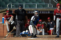 High Point-Thomasville HiToms catcher Rudy Maxwell (25) (Duke) looks towards first base as home plate umpire David Prim calls a strike during the game against the Deep River Muddogs at Finch Field on June 27, 2020 in Thomasville, NC.  The HiToms defeated the Muddogs 11-2. (Brian Westerholt/Four Seam Images)