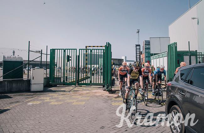 a jolly Lars Boom (NED/LottoNL-Jumbo) cruising through the Antwerp Harbour docks during the neutralised section<br /> <br /> 92nd Schaal Sels 2017 <br /> 1 Day Race: Merksem > Merksem (188km)