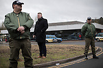 © Joel Goodman - 07973 332324 . 25/02/2017. Telford, UK. Britain First leader Paul Golding at a demonstration in Telford , opposed by anti-fascist groups . Britain First say they are highlighting concerns about child sexual exploitation in the town . Photo credit : Joel Goodman