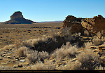 Fajada Butte from Una Vida Chacoan Great House, Anasazi Hisatsinom Ancestral Pueblo Site, Chaco Culture National Historical Park, Chaco Canyon, Nageezi, New Mexico