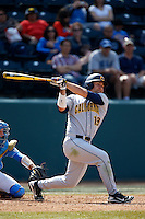 Nick Halamandaris #19 of the California Golden Bears bats against the UCLA Bruins at Jackie Robinson Stadium on March 23, 2013 in Los Angeles, California. (Larry Goren/Four Seam Images)