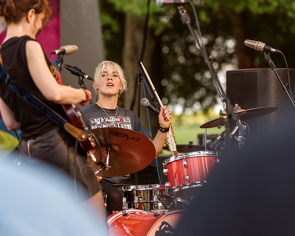 Raleigh, North Carolina- August 11, 2017<br /> <br /> (left to right) Mary Timony and Laura Harris of Ex Hex. <br /> <br /> Ex Hex and Waxahatchee played an outdoor concert with MERGE Records label mates Superchunk at the North Carolina Museum of Art. (Photo by Jeremy M. Lange for The New York Times)
