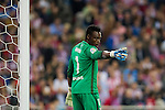 Goalkeeper Idriss Carlos Kameni of Malaga CF reacts during their La Liga match between Club Atletico de Madrid and Malaga CF at the Estadio Vicente Calderón on 29 October 2016 in Madrid, Spain. Photo by Diego Gonzalez Souto / Power Sport Images