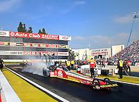 Feb 9, 2014; Pomona, CA, USA; NHRA top fuel dragster driver Doug Kalitta during the Winternationals at Auto Club Raceway at Pomona. Mandatory Credit: Mark J. Rebilas-