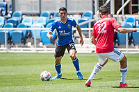 SAN JOSE, CA - APRIL 24: Cristian Espinoza #10 of the San Jose Earthquakes looks for a team mate during a game between FC Dallas and San Jose Earthquakes at PayPal Park on April 24, 2021 in San Jose, California.