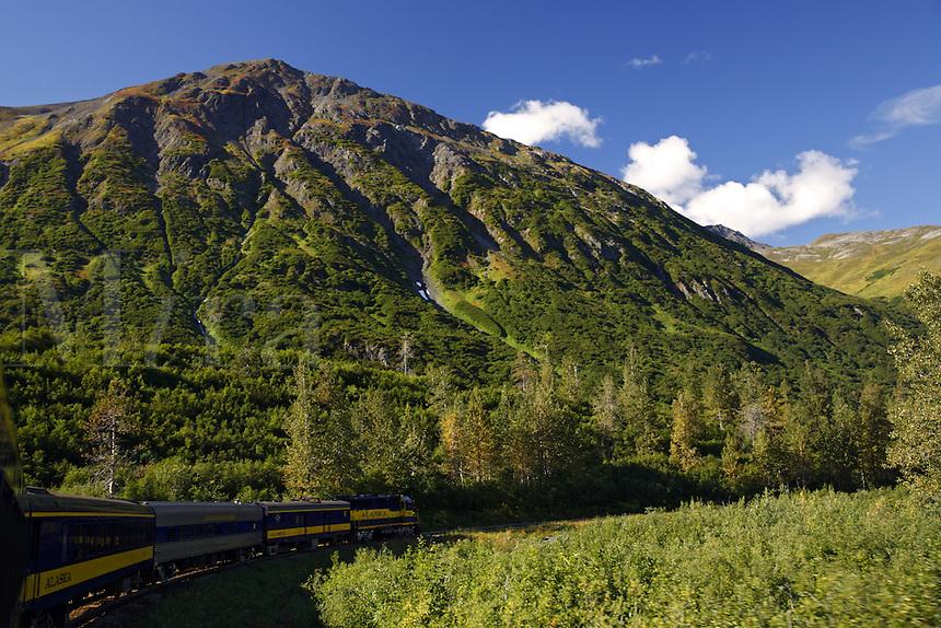 Riding the Alaska Railroad Glacier Discovery Train, Chugach National Forest, Alaska.